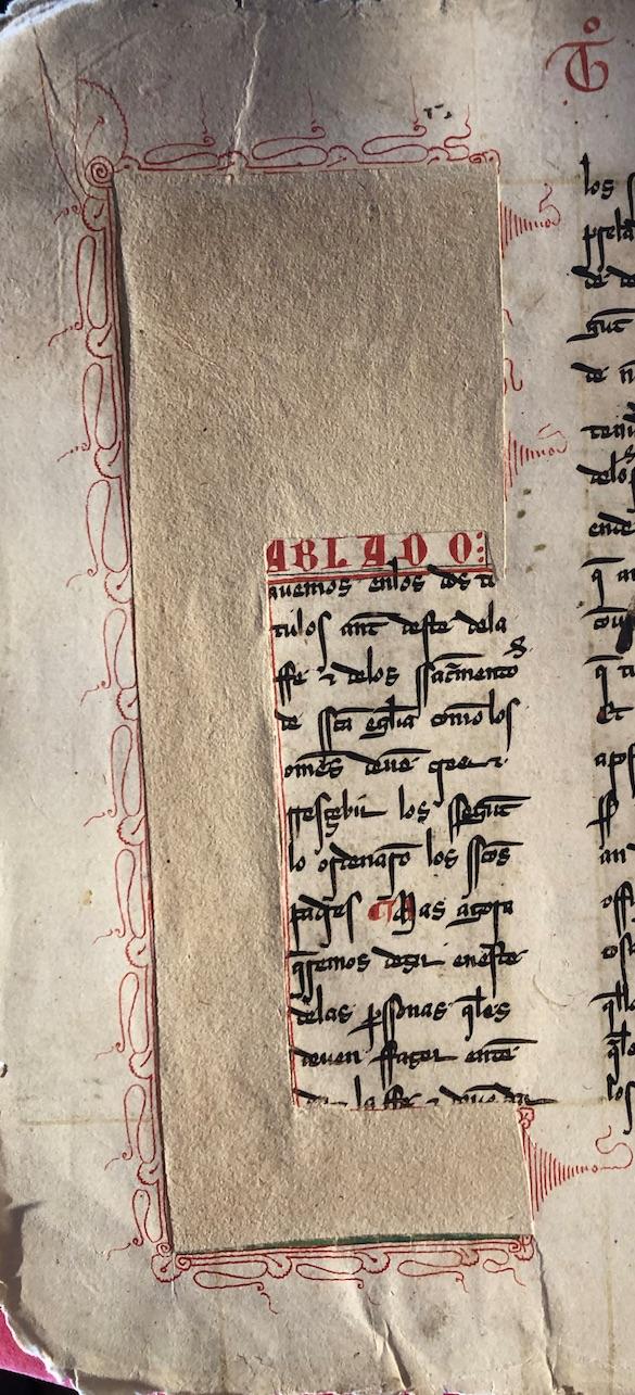 Espacio del que se recortó la inicial, una (Fablado), del Quinto Título (fol. 120v)